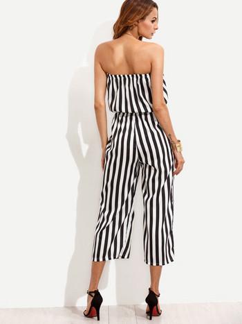 Γυναικείες φόρμες  με ζώνη σε μαύρο και άσπρο χρώμα