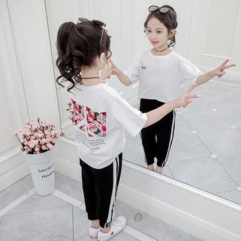 Μοντέρνο παιδικό σετ - παντελόνι και μπλούζα για  κορίτσια σε δύο χρώματα