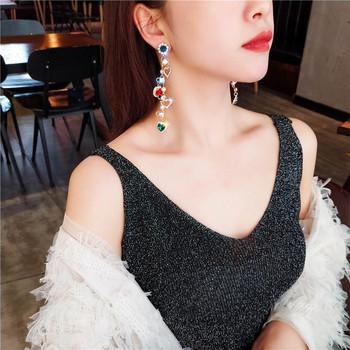 Γυναικεία μακρύ σκουλαρίκια με έγχρωμες πέτρες