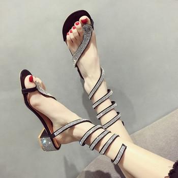 НОВО Модерни дамски сандали в два цвята с декоративни камъни