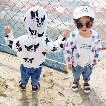 Παιδικό μπουφάν σε λευκό χρώμα με έγχρωμη εφαρμογή για αγόρια και κορίτσια