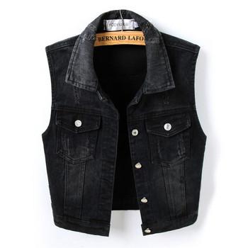 Μοντέρνο τζιν γιλέκο με τσέπες σε μαύρο χρώμα