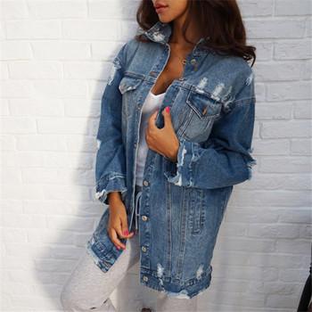 Γυναικέιο τζιν μπουφάν με σκισμένα σχέδια σε μπλε χρώμα