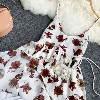 Γυναικείο καλοκαιρινό φόρεμα με λεπτές λωρίδες και floral τύπωμα