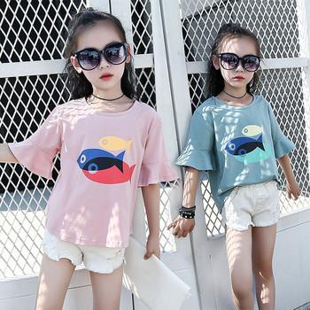 Μοντέρνα παιδική μπλούζα για κορίτσια σε τρία χρώματα με εφαρμογές