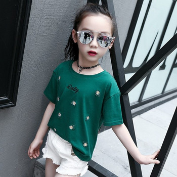Μοντέρνο παιδικό μπλουζάκι με κέντημα για κορίτσια