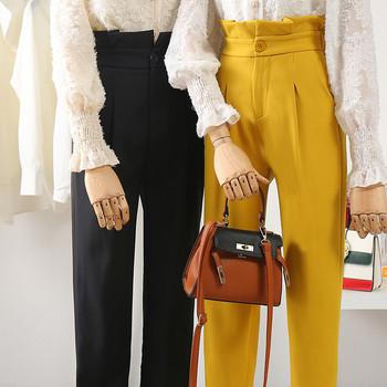 ΝΕΟ μοντέλο  γυναικεία παντελόνια  με ψηλή μέσης μέσης σε μαύρο και κίτρινο χρώμα