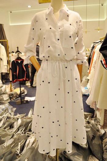 Γυναικείο λευκό φόρεμα με εκτύπωση