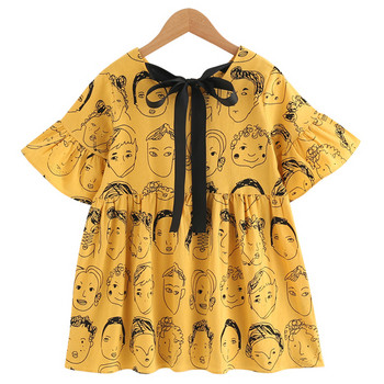 Μοντέρνο παιδικό φόρεμα με κοντό μανίκι και λαιμόκοψη σε τρία χρώματα