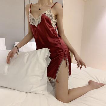 Γυναικείο σατέν νυχτικό  με λεπτές λουρίδες και δαντέλες σε διάφορα χρώματα