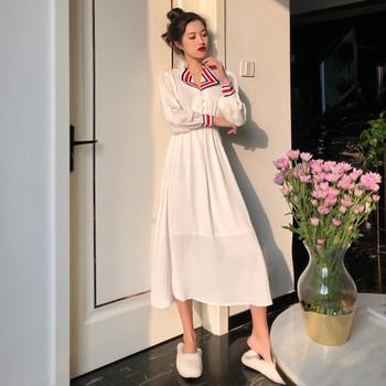 Γυναικείο λευκό φόρεμα με κουμπιά και χρωματιστό γιακά