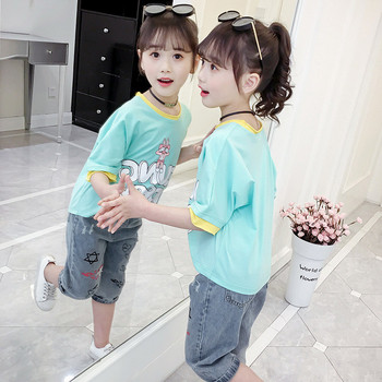 Παιδικό t-shirt για κορίτσια σε δύο χρώματα με εφαρμογές