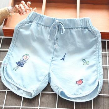 Детски къси панталони в син цвят за момичета с бродерия
