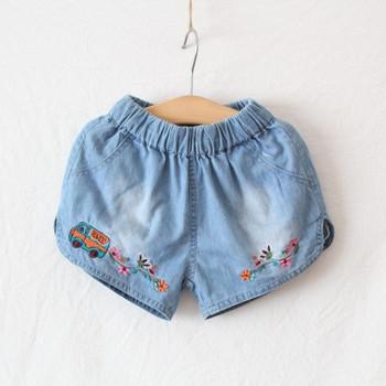 Къси детски панталони за момичета в син цвят