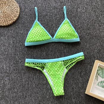 Нов модел бански костюм от две части в зелен цвят