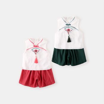 Ежедневен детски комплект за момичета в червен и зелен цвят