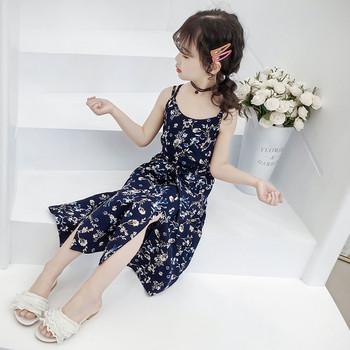 Модерна детска рокля с тънки презрамки и флорални мотиви