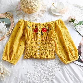Модерна дамска блуза с бродерия в няколко цвята