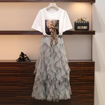 Модерен дамски комплект от тениска и дълга пола в два цвята