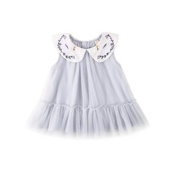 Модерна детска рокля за момичета в син и розов цвят