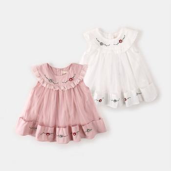 Модерна детска рокля с О-образно деколте и бродерия