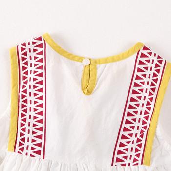 Модерна детска рокля за момичета с бродерия в бял цвят