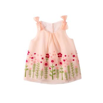 Модерна бебешка рокля в розов цвят за момичета