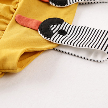 Бебешка рокля на презрамки в жълт цвят за момичета