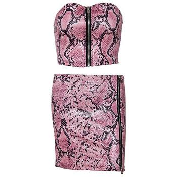 Модерен дамски комплект - късо бюстие и пола с цип в розов цвят