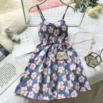Дамска  лятна рокля с тънки презрамки и флорален десен