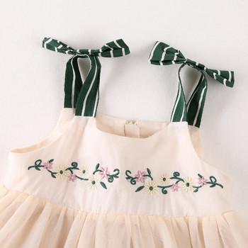 Стилна детска рокля на презрамки и тюл за момичета