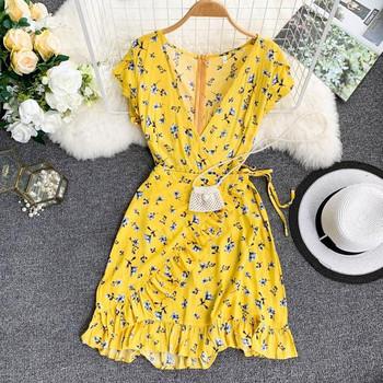 Дамска лятна рокля с V-образно деколте в жълт цвят