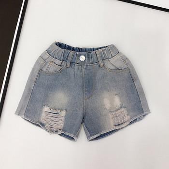 Детски къси дънки с разкъсани мотиви и копче-за момичета