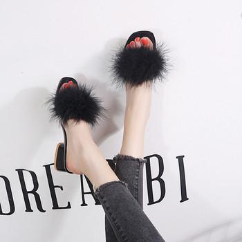 Модерни дамски чехли с пух в няколко цвята