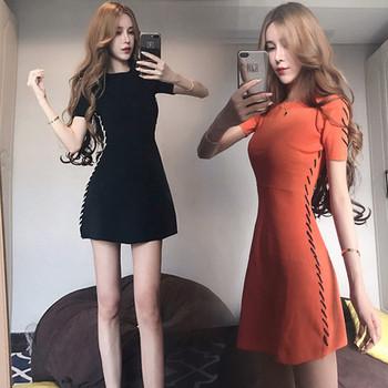 Ежедневна  дамска рокля с къс ръкав в два цвята