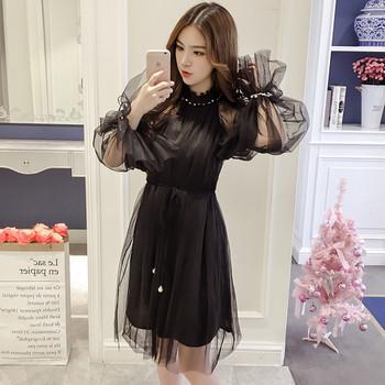 Дамска стилна рокля с дантела в черен ,бежов и розов цвят