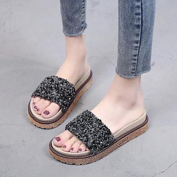 Стилни дамски чехли с камъни в два цвята
