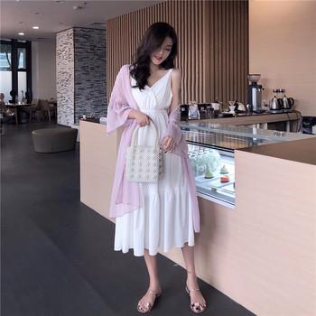 Дамска семпла рокля в бял цвят разкроен модел