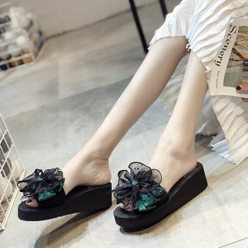 Модерни дамски чехли с панделка в два цвята