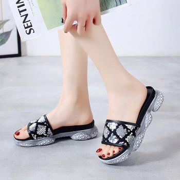 Нов модел дамски чехли с пайети в два цвята