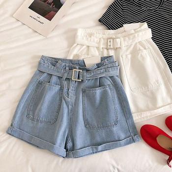 Дамски къси дънкови панталони в бял и син цвят