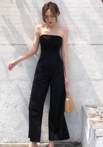 Стилен дамски гащеризон без ръкави в черен цвят