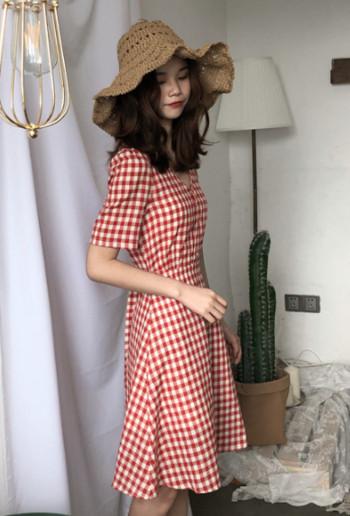 Ежедневна дамска карирана рокля в два цвята
