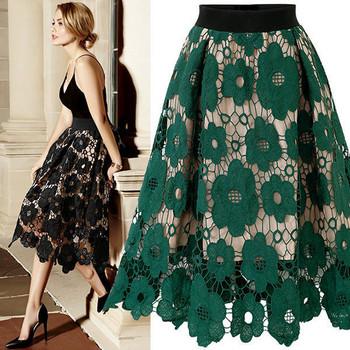 Стилна дамска пола с еластична талия и дантела в черен и зелен цвят