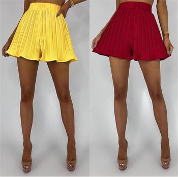 Стилни дамски къси панталони с висока талия в два цвята - широк модел