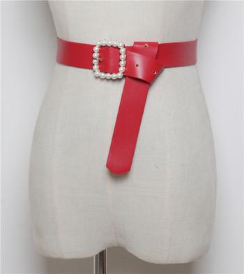 Дамски колан от еко кожа с перли в няколко цвята
