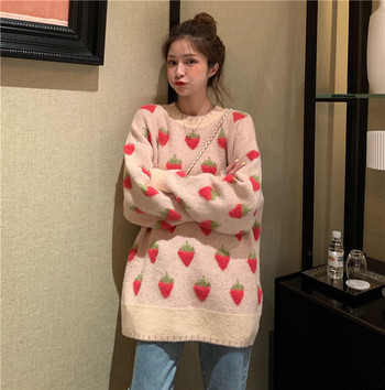Дамски ежедневен дълъг пуловер в три модела с овално деколте