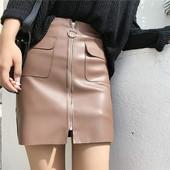 Стилна пола от еко кожа с преден цип и джобове