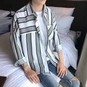 Широка мъжка риза на райе в два цвята