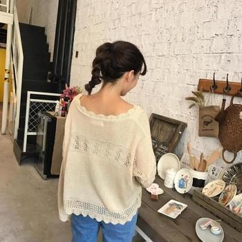 Дамски пуловер с разкроени ръкави в три цвята